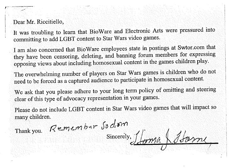 Ea defends itself against thousands of anti gay letters 4 just one example of the letters spiritdancerdesigns Choice Image