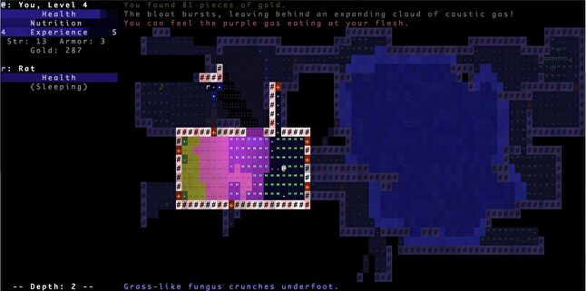 Brogue's use of subtle animations and soft colour palette set it apart from other ascii games.