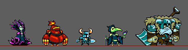 Shovel Knight and a few of his villains
