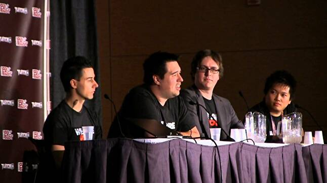 Lin and members of the player behavior team at PAX East 2013.
