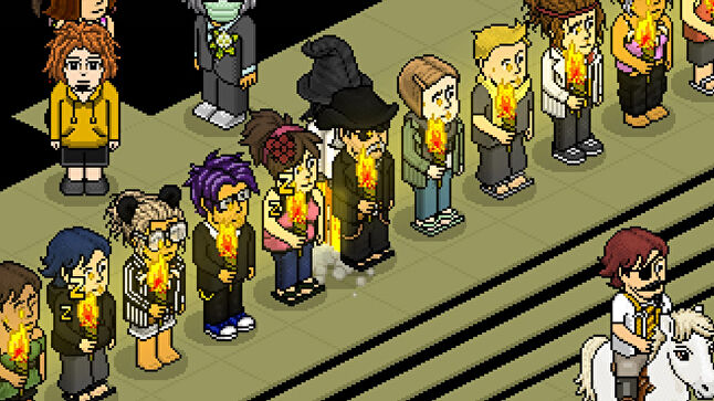 One of the 'torchlight protests' staged by Habbo users after the muting of chat channels.