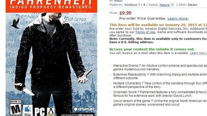 Fahrenheit: Indigo Prophecy Remastered is coming toSteam