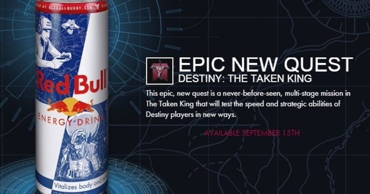 Destiny: The Taken King promotional Red Bull quest and bonus XP detailed