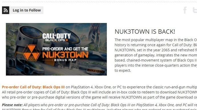 It turns out Call of Duty: Black Ops 3's Nuketown map is a GAME exclusive