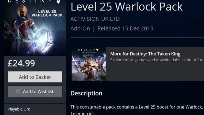 Destiny launches level boost packs priced £25