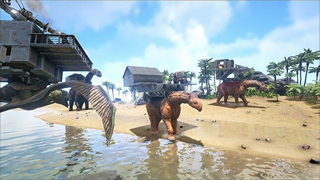 A shot from the just-released Xbox One Game Preview version of Ark.