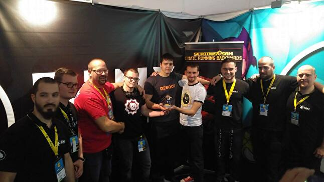 The Binx team, and Damjan Mravunac of Croteam, offer the prize of a 3D printed Serious Sam to the highest scorer at Reboot Infogamer in Zagreb