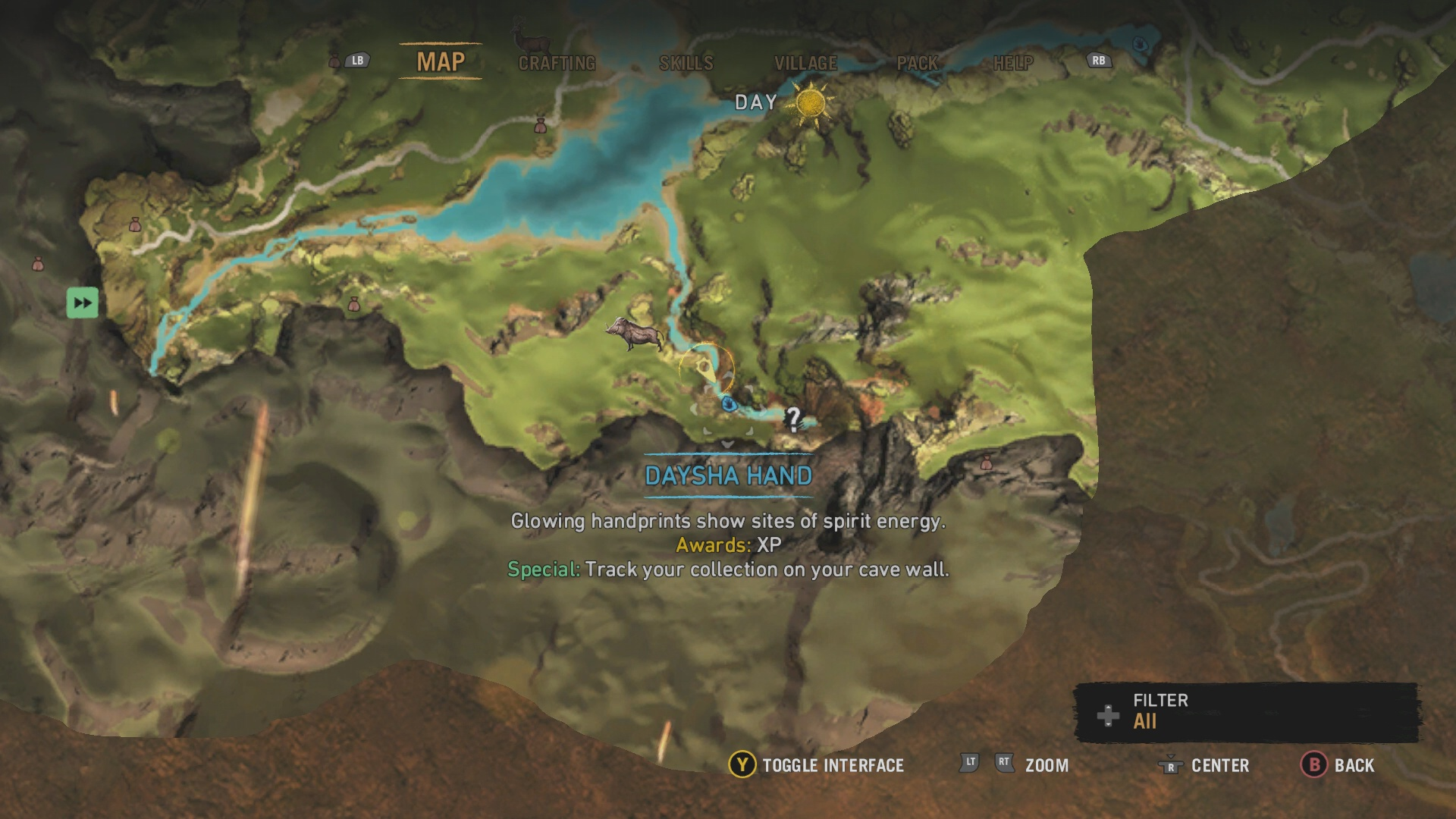 Far cry primal all daysha hand locations usgamer daysha hand 1 starting from your village head south locate a waterfall at the end of the river the daysha hand is at the base of the waterfall gumiabroncs Choice Image