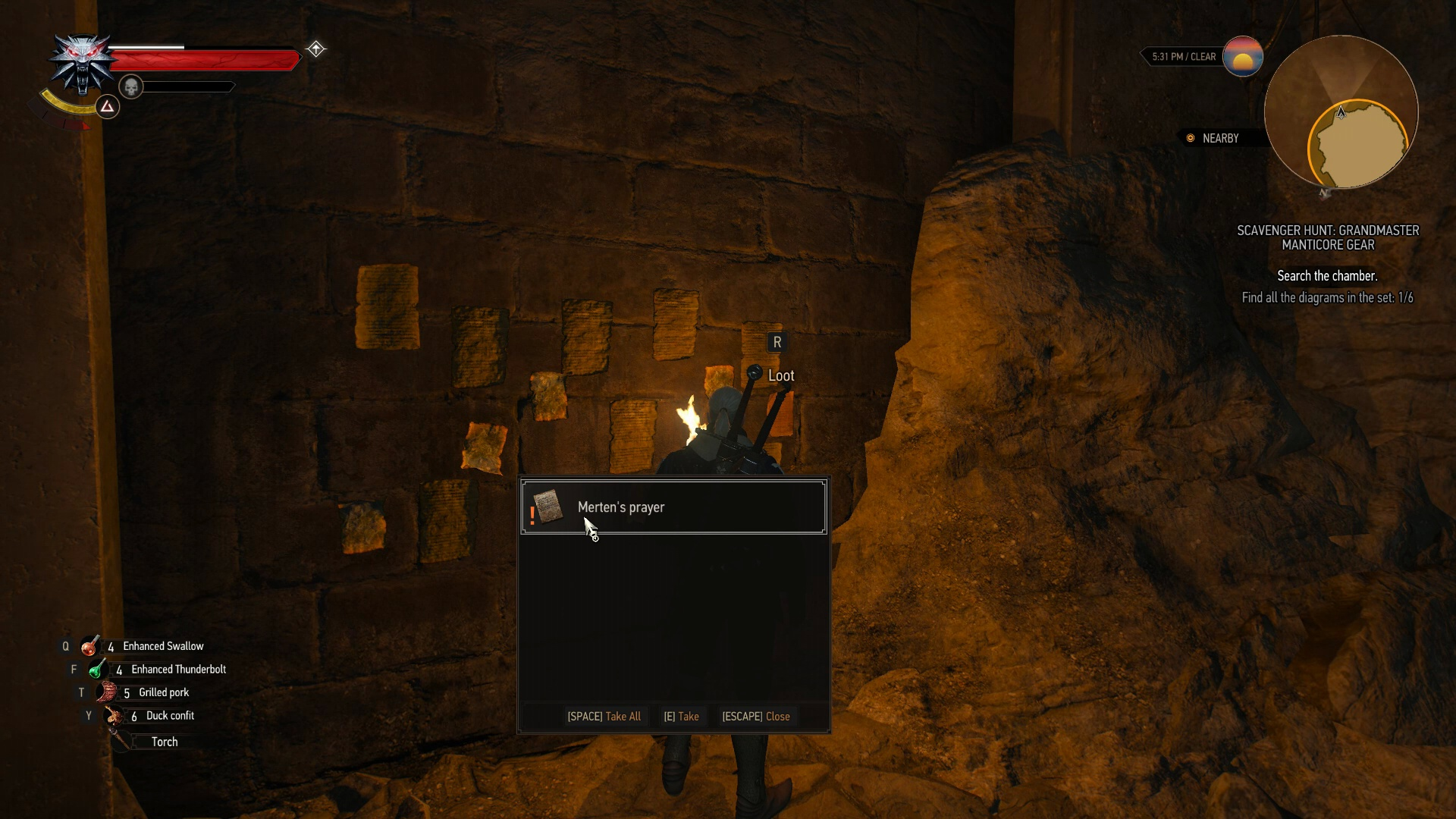 The Witcher 3 How To Get Manticore Gear Set Usgamer Inside A Pc Diagram Cave Youll Find Room With Notes Hung Along Walls Search Far Wall For Mertens Prayer Which Is Written On Back Side Of