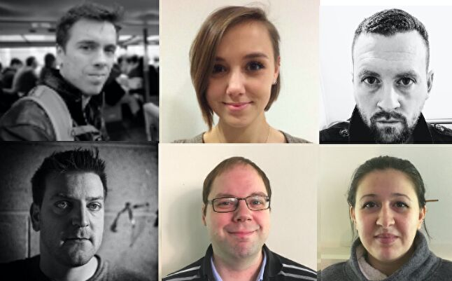 Clockwise from Top left: Davide Fabrizzi, Ellie Spanovic, Matt Benson, Ian Pickles,                Niklas Hansson and Octavia Vasilescu