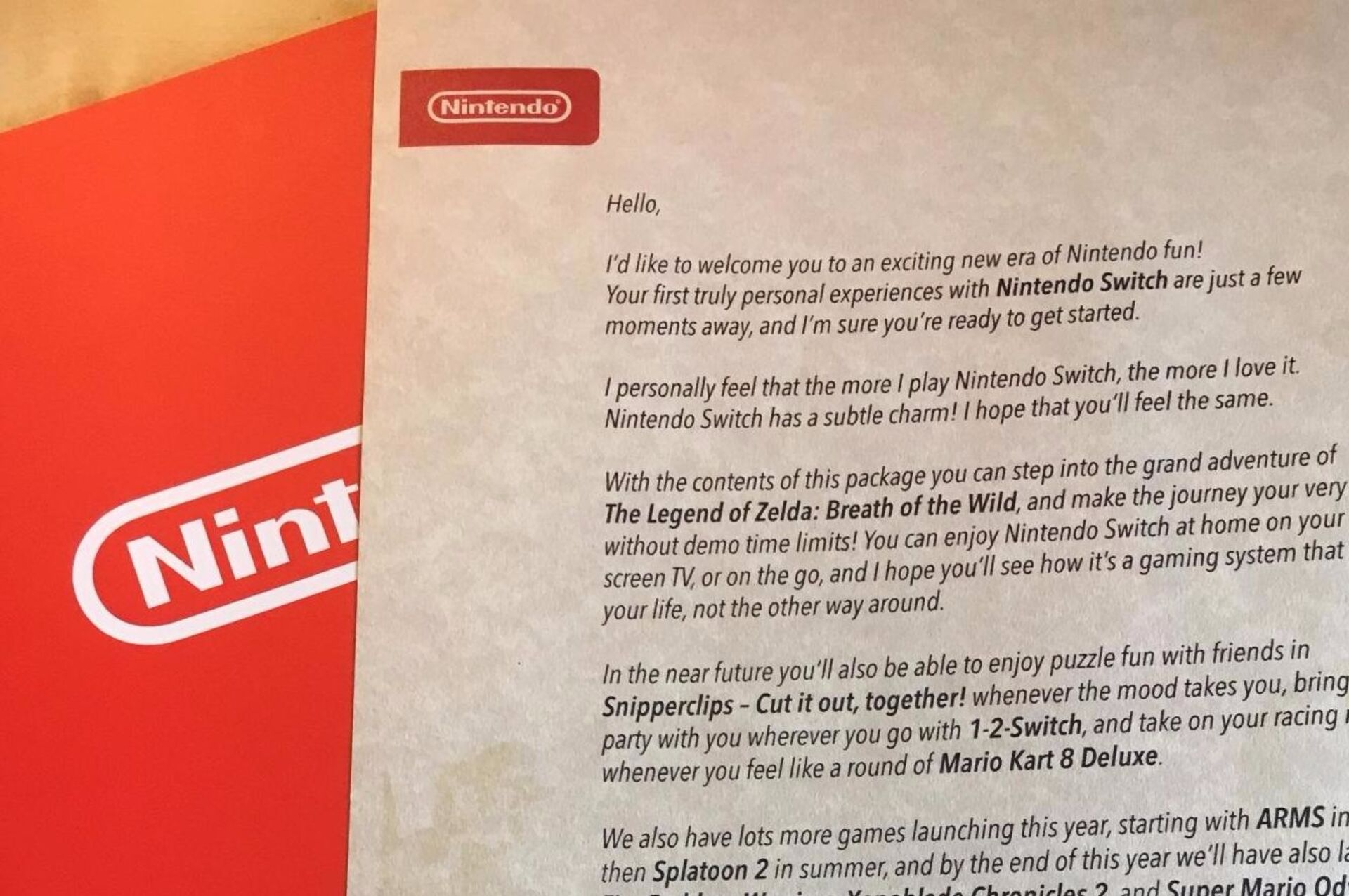 Nintendo's Switch media kit includes heartfelt messages from