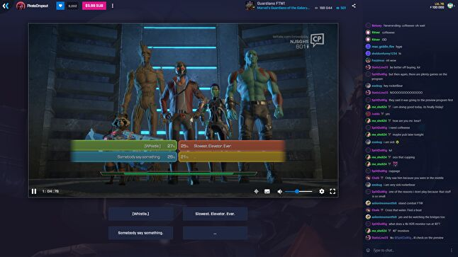 TellTale is using Mixer with Guardians of the Galaxy where the audience decides