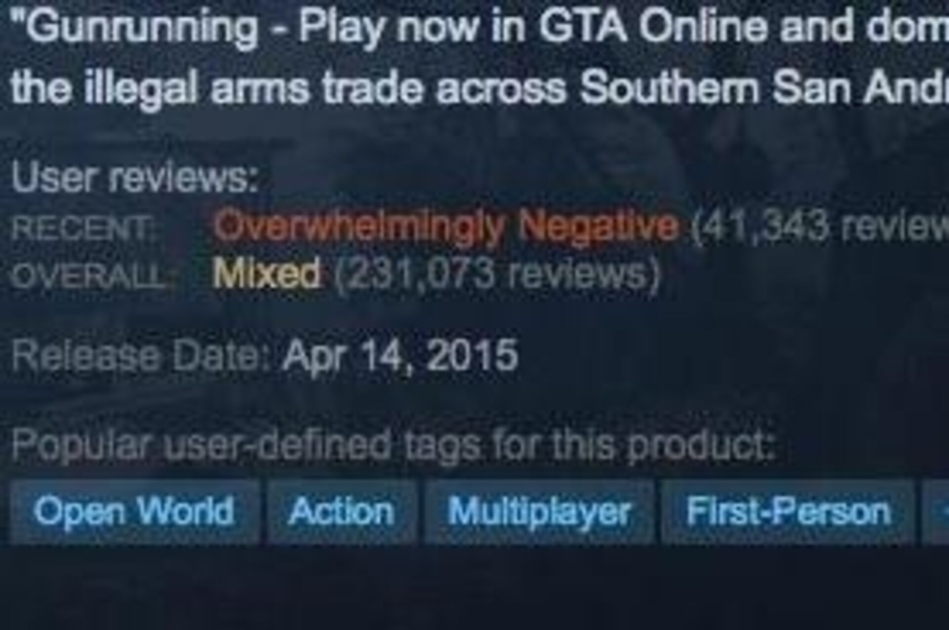 GTA5's recent Steam reviews are
