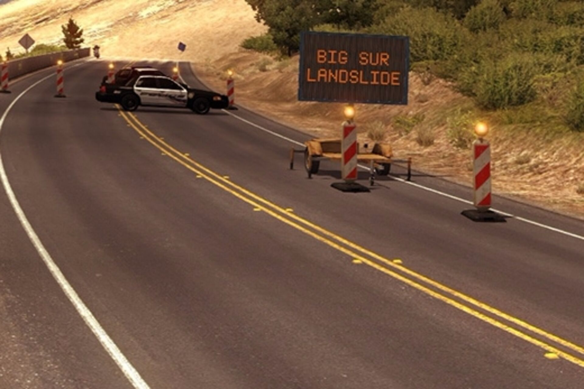 American Truck Simulator closes in-game California highway after