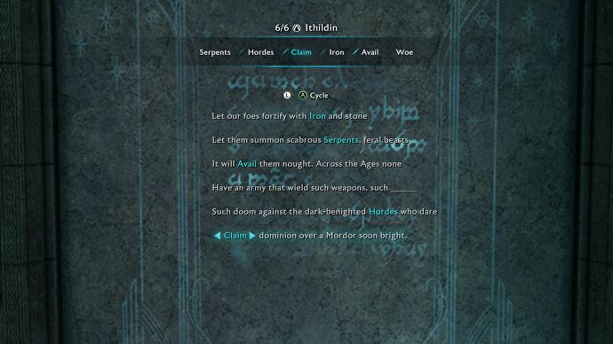 Seregost Ithildin Door poem solution & Shadow of War Ithildin Door poem solutions - Ithildin fragments how ...