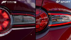 A close-up of this brake light highlights the different approach to materials rendering between the two games. This shot also highlights the lower resolution cubemap reflections used in GT Sport.