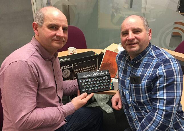 The Olivers pose with a ZX Spectrum