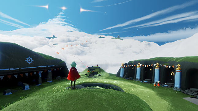 The art style feels inviting, makes you want to soar through the clouds