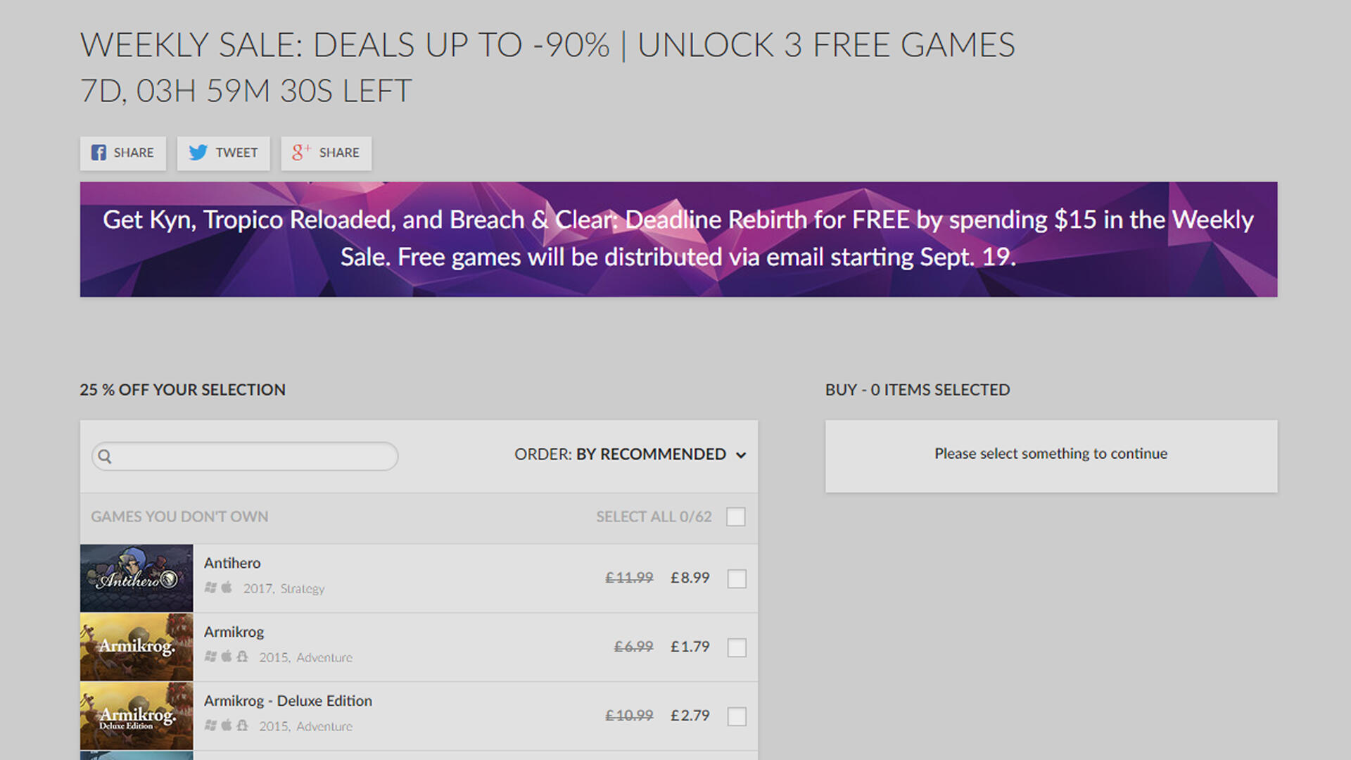 Get up to 3 Games Free When You Spend $15 in GOG's Weekly Sale