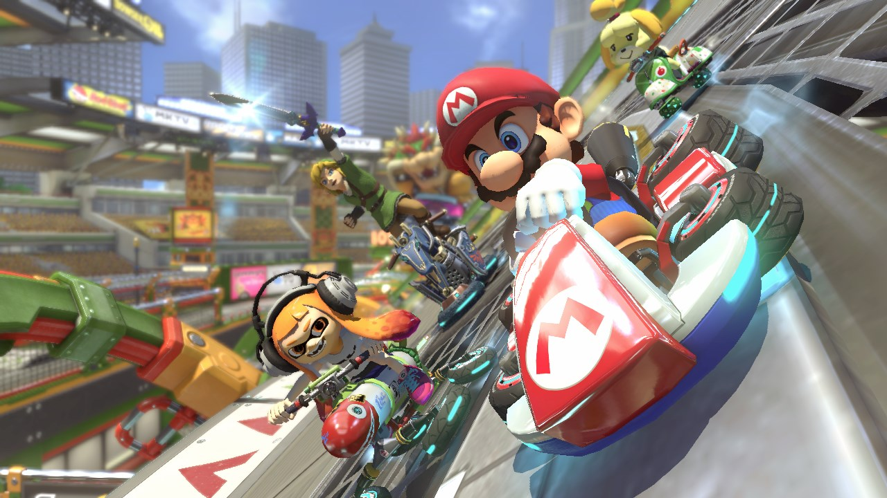 mario kart 8 deluxe not a switch launch game coming april. Black Bedroom Furniture Sets. Home Design Ideas