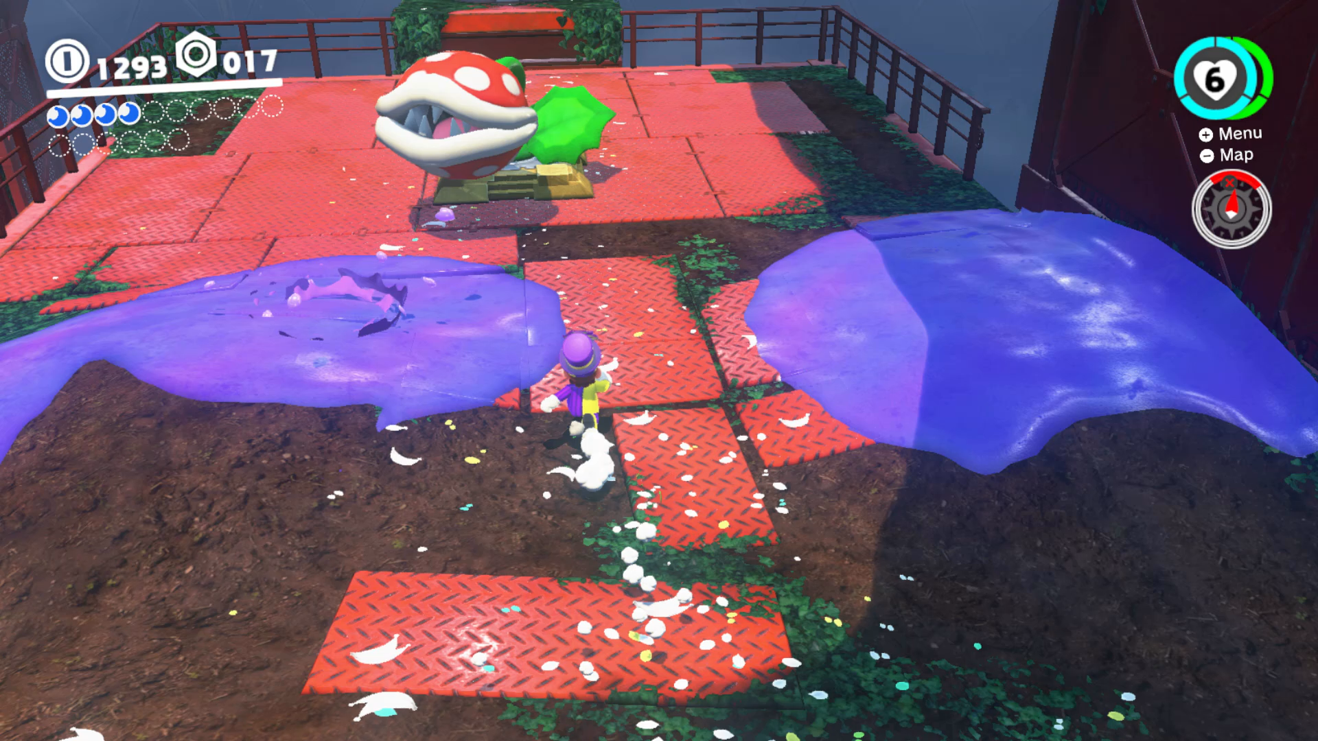 Super mario odyssey wooded kingdom moon locations all secrets following the red maze youll see some purple poison and a number of piranha plants a large one sits on a special platform to destroy a piranha plant mightylinksfo
