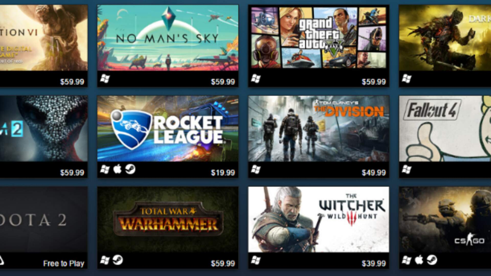 GTA 5 and Civilization 6 Top Steam Best-Sellers of 2016