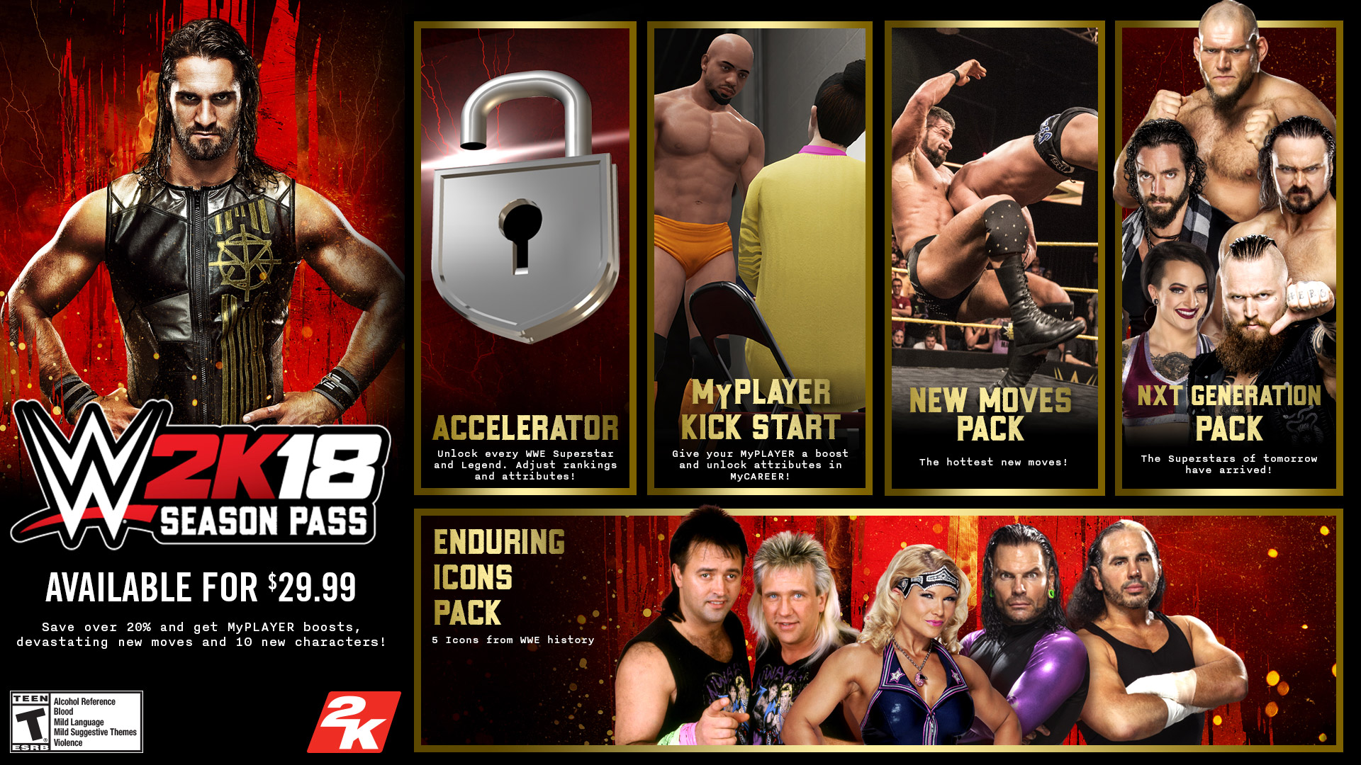 Accelerator - Immediate access to all WWE 2K18 unlockable content available  at launch in the game's VC Purchasable section (not including DLC), plus  control ...