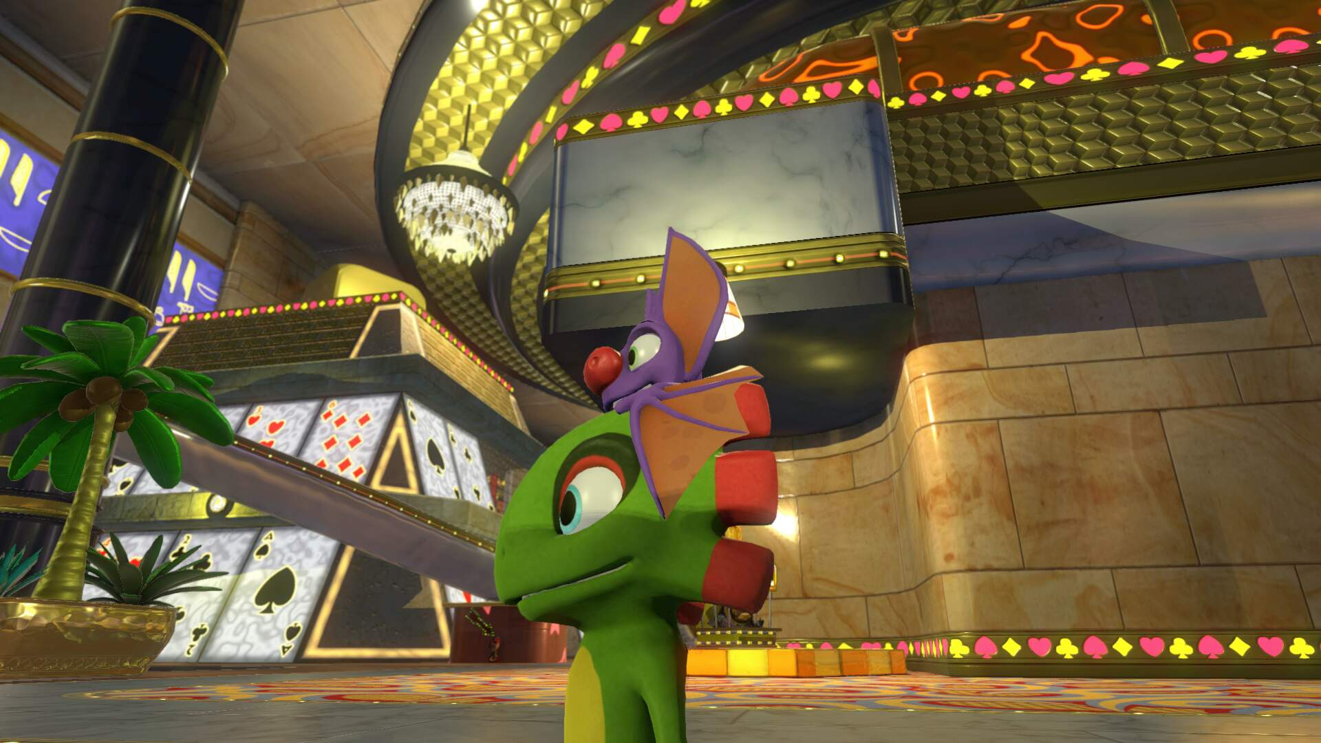 Yooka Laylee Capital Cashino (Casino) - Pagie Locations, Hurdle Hijinx, INEPT World 4 Boss, Butterfly Heart, Power Extender, Play Coin, Mollycool