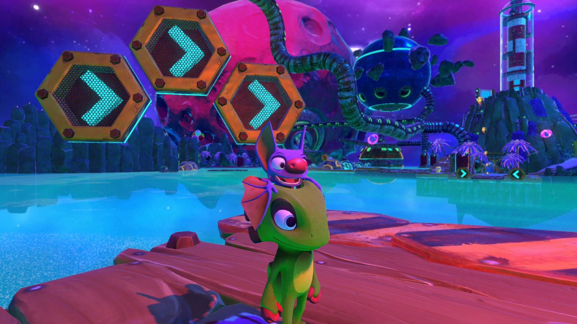 Yooka Laylee Galleon Galaxy - Pagie Locations, World 5 Boss Planette, Butterfly Heart, Power Extender, Play Coin, Mollycool
