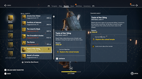 Assassin's Creed Origins Taste of Her Sting Quest Guide