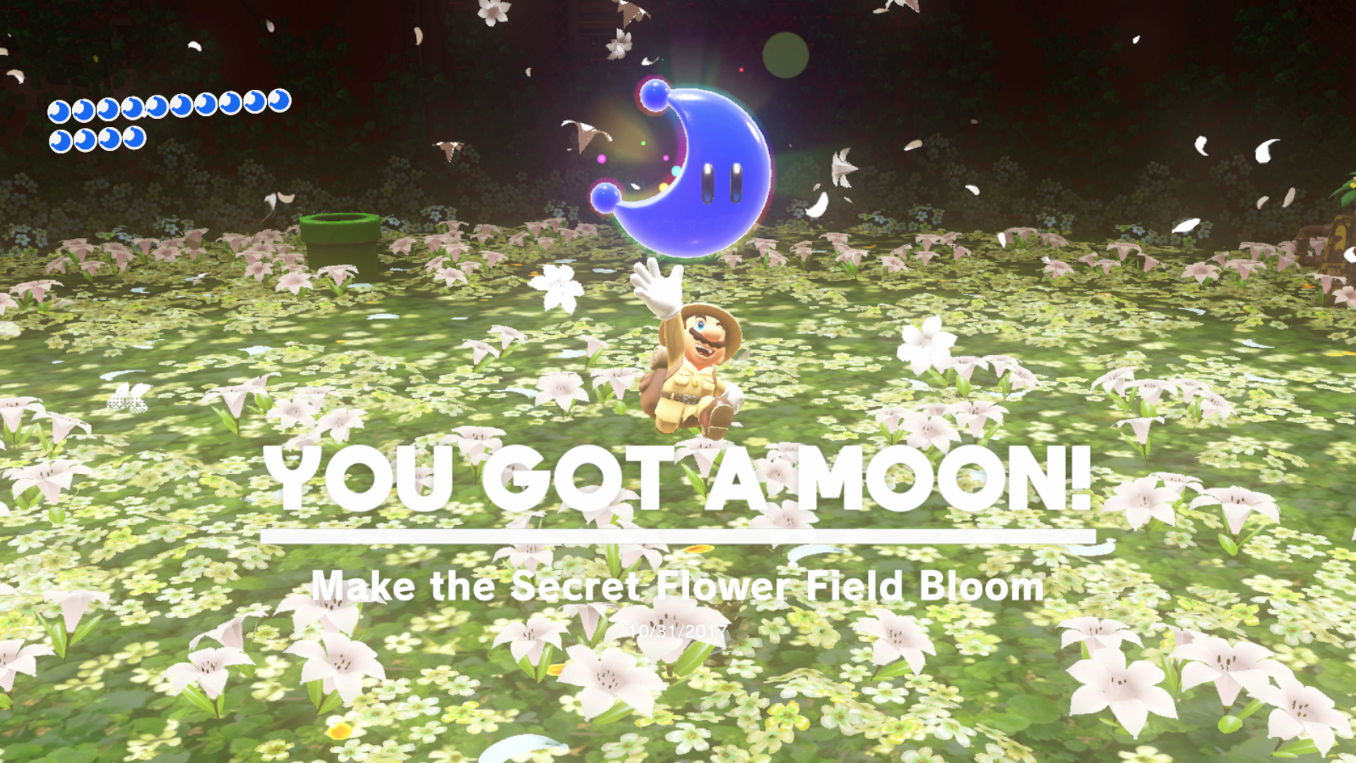 Super mario odyssey wooded kingdom moon locations all secrets head to the secret flower field entrance flag and drop down into the former boss arena youll now have to quickly hit all the flowers with cappy in order mightylinksfo