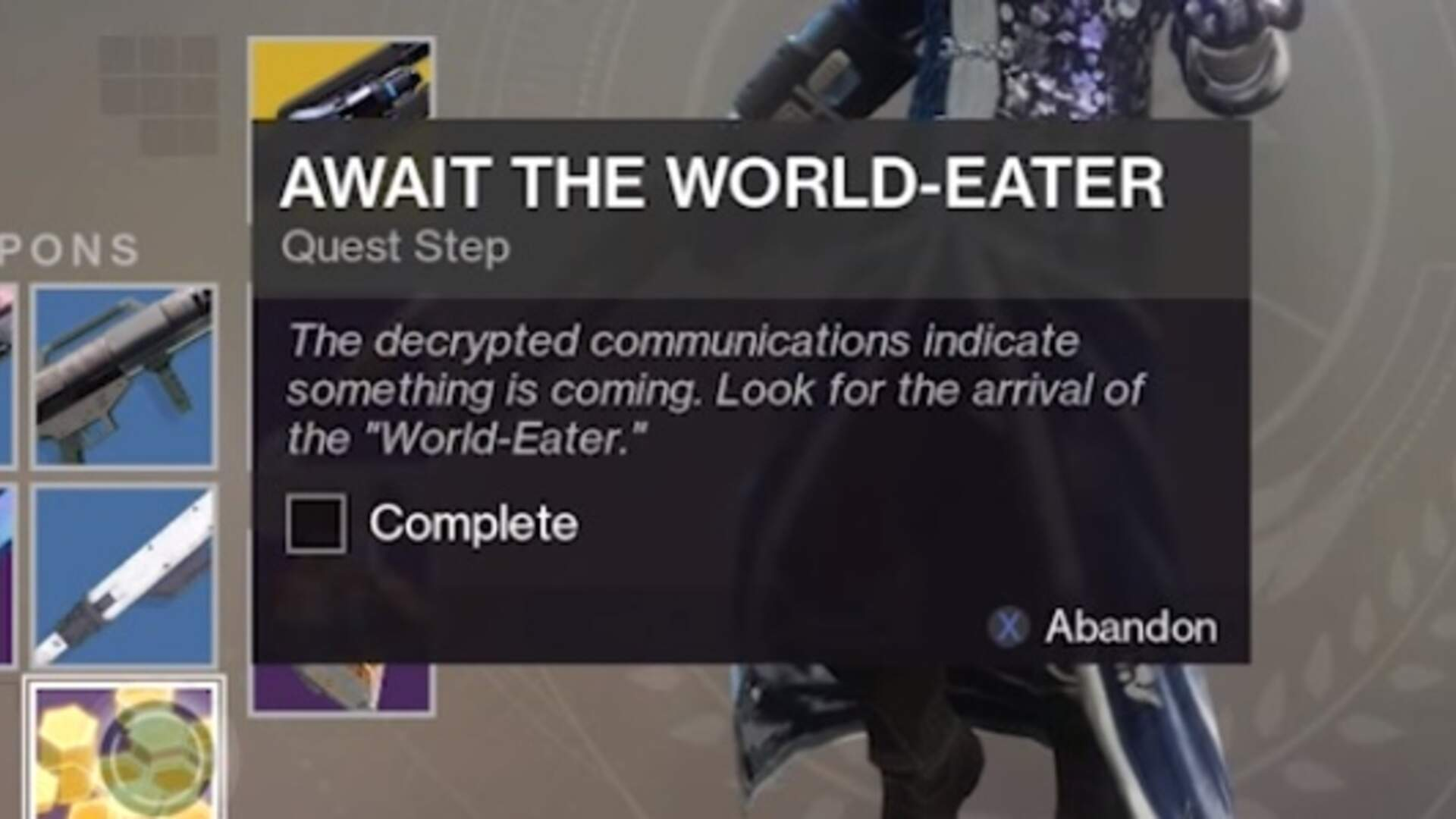 Destiny 2 World-Eater Quest Guide - How to Complete On the Comms, Await the World-Eater Mission Walkthrough
