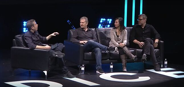 Panel host Geoff Keighley with Mike Morhaime, Kim Phan, and Nate Nazer