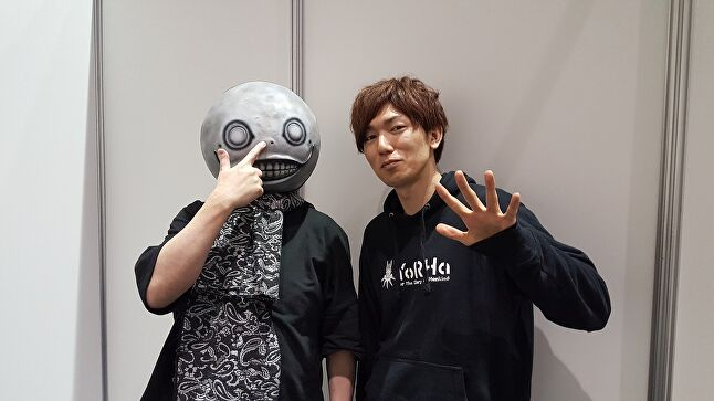 Yoko Taro (left) and Takahisa Taura at GDC