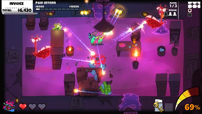 Subtle assistance within the control scheme makes Dead End Job more accessible than most twin-stick shooters, but still challenging for fans of the genre