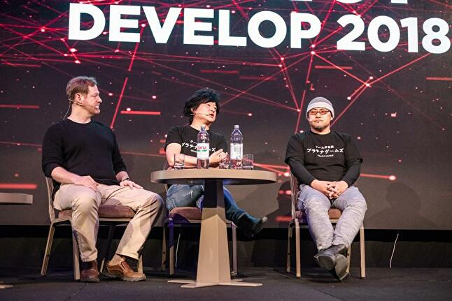 Atsushi Inaba (centre) and Hideki Kamiya (right) both appeared at Reboot Develop 2018 to discuss the studio's history and the state of the action genre