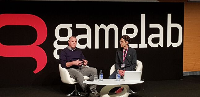 Daryl Holt (left) on stage with Eurogamer's Robert Purchese at Gamelab 2018