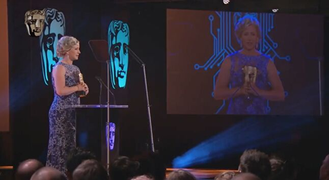 Jones accepting her BAFTA award for her role in Firewatch