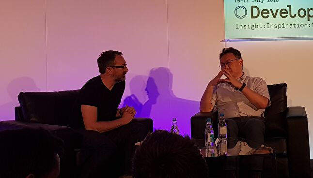 Shuhei Yoshida on stage with Nathan Brown at Develop: Brighton