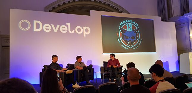 Hangar 13's Andy Wilson (left) and Haden Blackman (middle) on stage with GamesIndustry.biz's Chris Dring at Develop:Brighton 2018