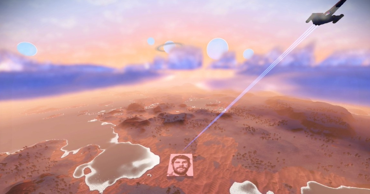 No Man's Sky fan builds giant Sean Murray face on planet's surface, almost visible from space