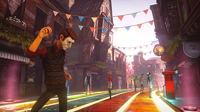 Rachel Weber, GamesRadar: 'We Happy Few doesn't so much cut close to the bone as drill right down to the bloody marrow'