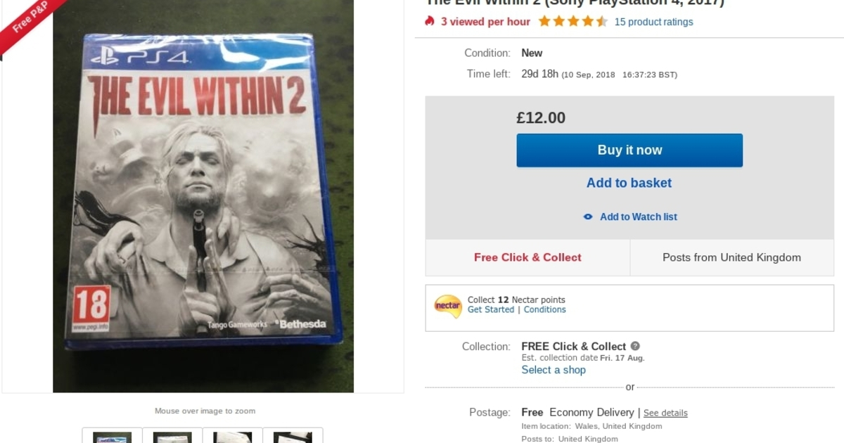 """Bethesda defends its legal threat against a man who tried to resell a """"new"""", sealed copy of The Evil Within 2 on Amazon Marketplace"""