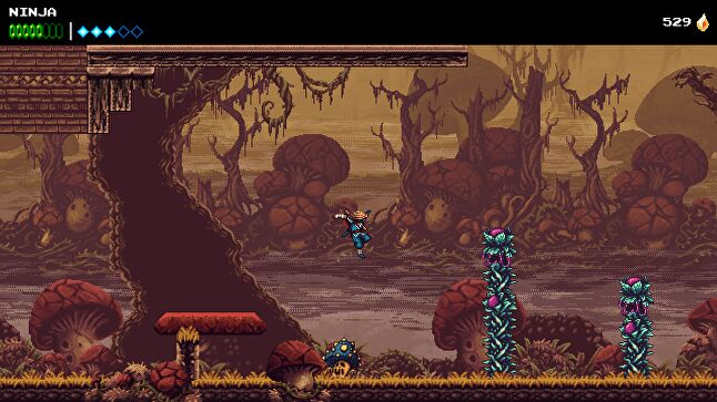 The Messenger introduces its SNES-esque aesthetic some hours into the game.