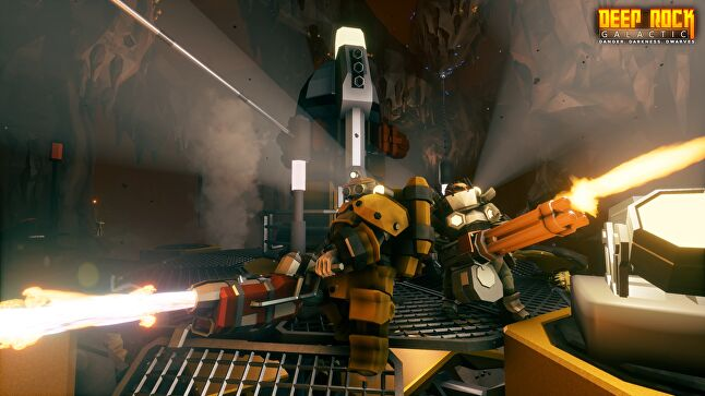 Deep Rock Galactic is a class-based four person co-operative shooter with procedurally generated levels, destructible environments, and hordes of murderous aliens