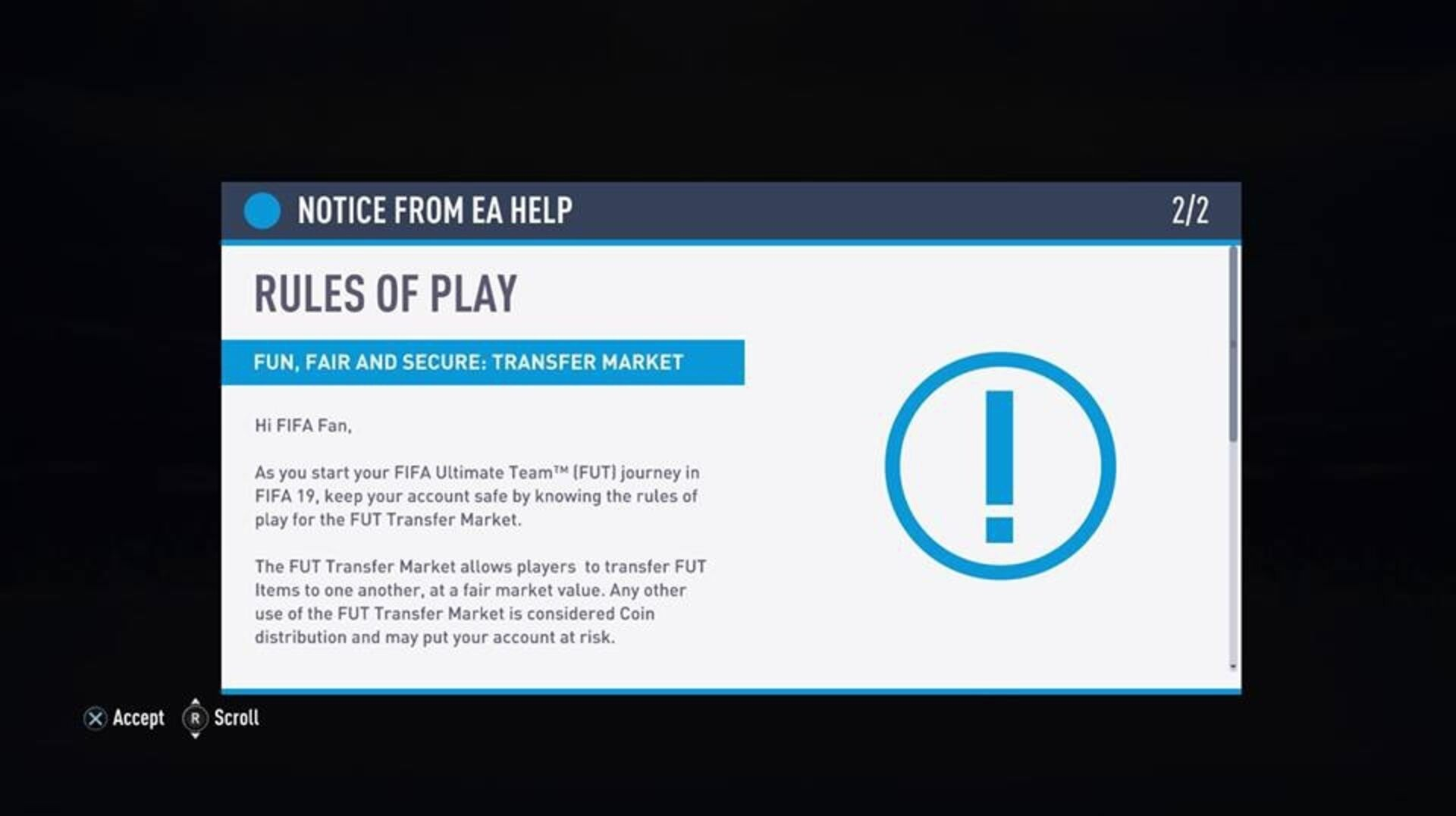 FIFA 19 in-game message warns FUT players against coin