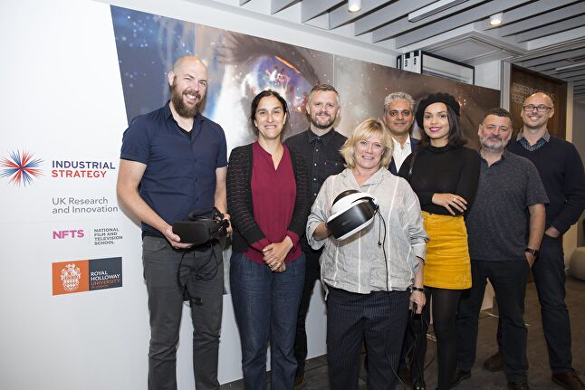 Left to right: Royal Holloway's James Bennett, storytellers and filmmakers Sarah Gavron, Ben Roberts, Sue Vertue, Bal Samra, Georgina Campbell, Steven Moffat, and NFTS' Jon Wardle