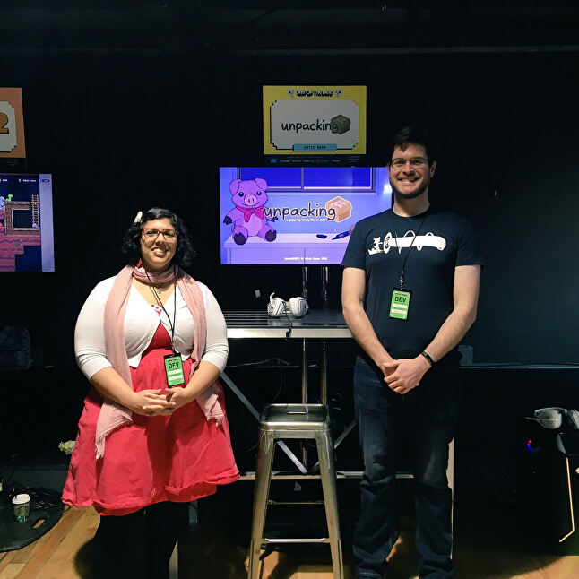 Brier and Dawson with Unpacking at Day of the Devs 2018