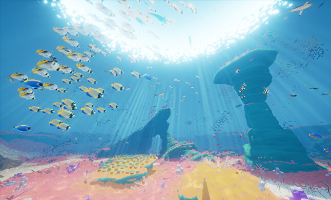 ABZÛ's gameplay can be relaxing all on its own, but the player can also simply enter a meditation mode and watch fish for hours on end if they so choose
