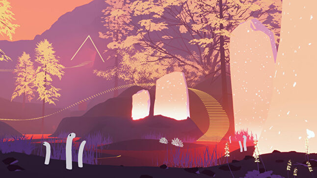 Shape of the World is a simple exploration game in which players wander colorful biomes, plant seeds, and explore simple interactions with strange creatures